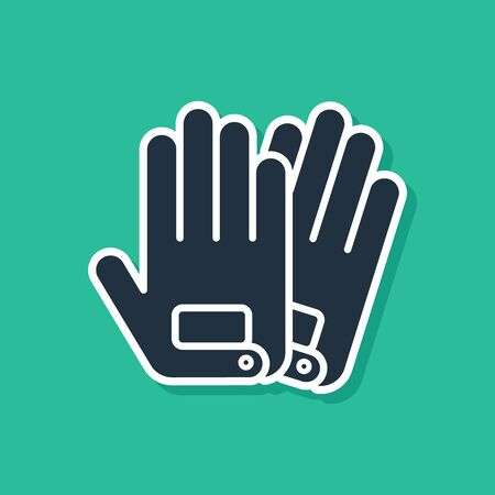 Blue Gloves icon isolated on green background. Extreme sport. Sport equipment. Vector Illustration