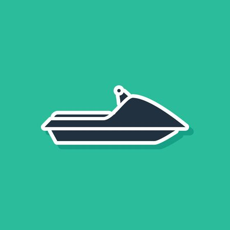 Blue Jet ski icon isolated on green background. Water scooter. Extreme sport. Vector Illustration