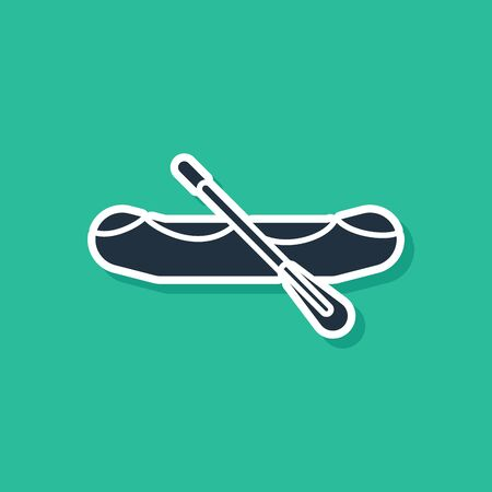 Blue Rafting boat icon isolated on green background. Inflatable boat with paddles. Water sports, extreme sports, holiday, vacation. Vector Illustration