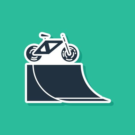 Blue Bicycle on street ramp icon isolated on green background. Skate park. Extreme sport. Sport equipment. Vector Illustration