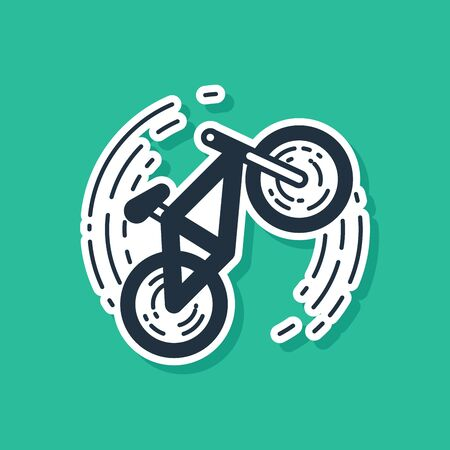 Blue Bicycle trick icon isolated on green background. Bike race. Extreme sport. Sport equipment. Vector Illustration Illustration