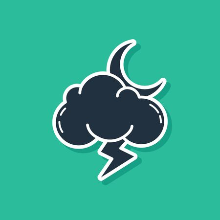 Blue Storm icon isolated on green background. Cloud with lightning and moon sign. Weather icon of storm. Vector Illustration