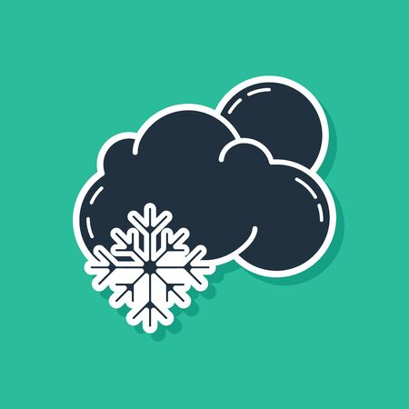 Blue Cloud with snow and sun icon isolated on green background. Cloud with snowflakes. Single weather icon. Snowing sign. Vector Illustration