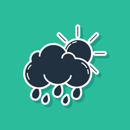 Blue Cloud with rain and sun icon isolated on green background. Rain cloud precipitation with rain drops. Vector Illustration