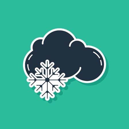 Blue Cloud with snow icon isolated on green background. Cloud with snowflakes. Single weather icon. Snowing sign. Vector Illustration Illustration