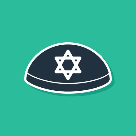 Blue Jewish kippah with star of david icon isolated on green background. Jewish yarmulke hat. Vector Illustration