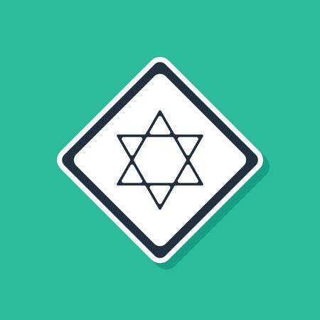 Blue Star of David icon isolated on green background. Jewish religion symbol. Symbol of Israel. Vector Illustration