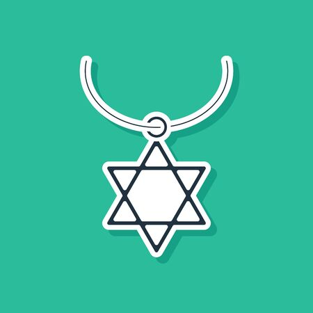 Blue Star of David necklace on chain icon isolated on green background. Jewish religion symbol. Symbol of Israel. Jewellery and accessory. Vector Illustration