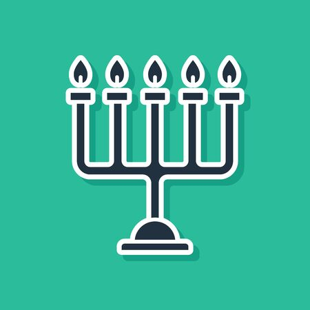Blue Hanukkah menorah icon isolated on green background. Hanukkah traditional symbol. Holiday religion, jewish festival of Lights. Vector Illustration