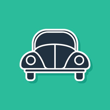 Blue Car beetle icon isolated on green background. Vector Illustration