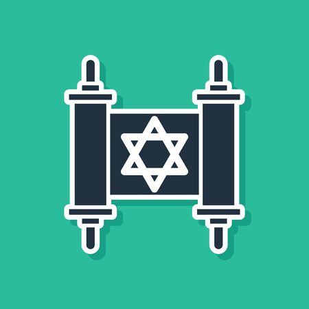 Blue Torah scroll icon isolated on green background. Jewish Torah in expanded form. Star of David symbol. Old parchment scroll. Vector Illustration