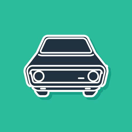 Blue Car icon isolated on green background. Front view. Vector Illustration Иллюстрация
