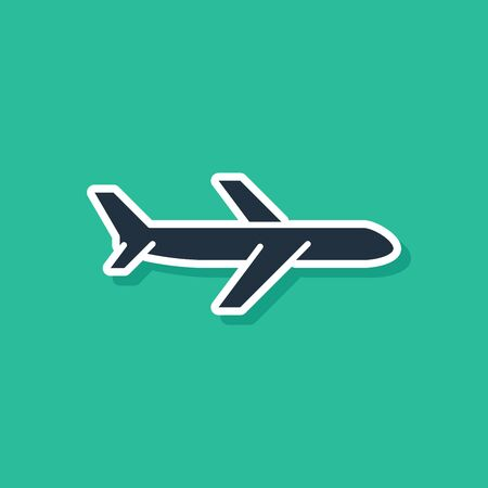 Blue Plane icon isolated on green background. Flying airplane icon. Airliner sign. Vector Illustration