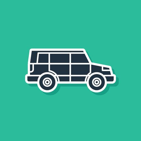 Blue Off road car icon isolated on green background Illustration