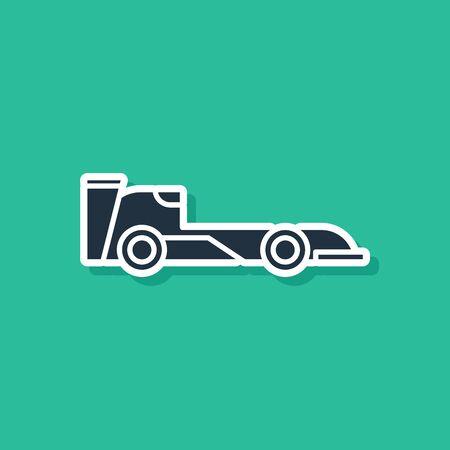 Blue Formula race car icon isolated on green background. Vector Illustration Illustration