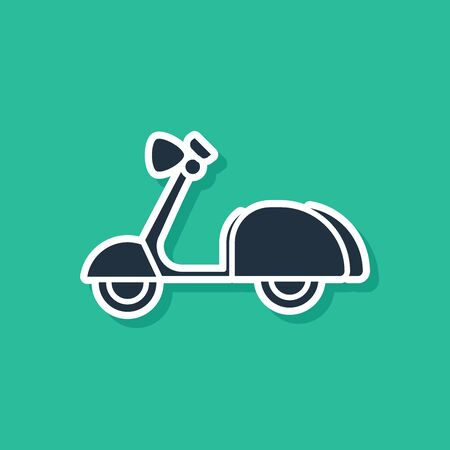 Blue Scooter icon isolated on green background. Vector Illustration