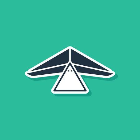 Blue Hang glider icon isolated on green background. Extreme sport. Vector Illustration Ilustração