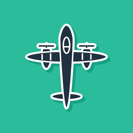 Blue Old retro vintage plane icon isolated on green background. Flying airplane icon. Airliner sign. Vector Illustration