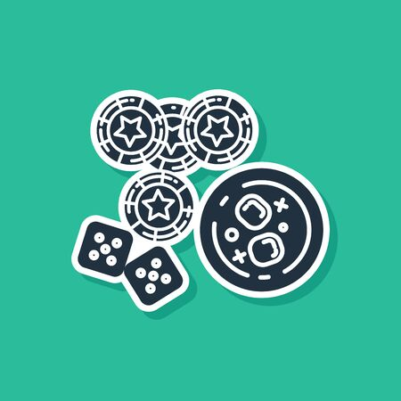 Blue Casino chips, game dice and glass of whiskey with ice cubes icon isolated on green background. Casino poker. Vector Illustration