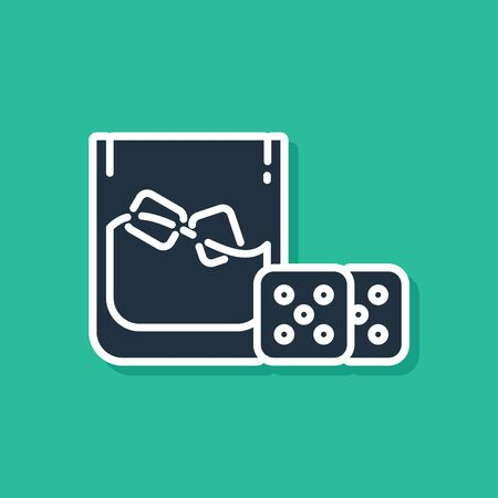 Blue Game dice and glass of whiskey with ice cubes icon isolated on green background. Casino gambling. Vector Illustration