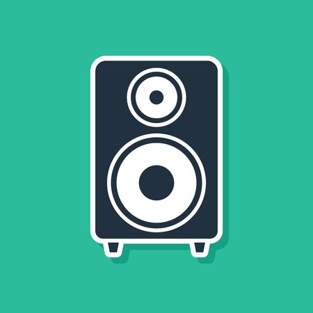 Blue Stereo speaker icon isolated on green background. Sound system speakers. Music icon. Musical column speaker bass equipment. Vector Illustration 向量圖像