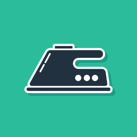 Blue Electric iron icon isolated on green background. Steam iron. Vector Illustration