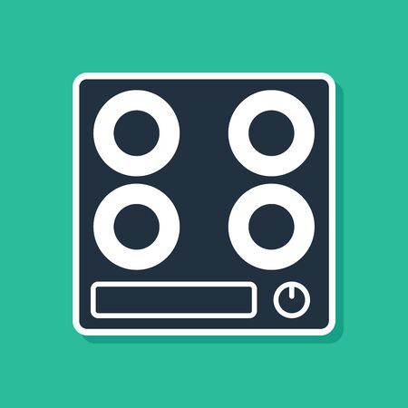 Blue Gas stove icon isolated on green background. Cooktop sign. Hob with four circle burners. Vector Illustration