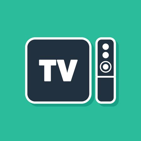 Blue Multimedia and TV box receiver and player with remote controller icon isolated on green background. Vector Illustration Stock Illustratie