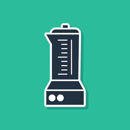Blue Blender icon isolated on green background. Kitchen electric stationary blender with bowl. Cooking smoothies, cocktail or juice. Vector Illustration Ilustração