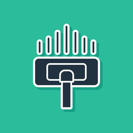 Blue Cleaning service icon isolated on green background. Vacuum cleaner head in circle, carpet cleaning  イラスト・ベクター素材
