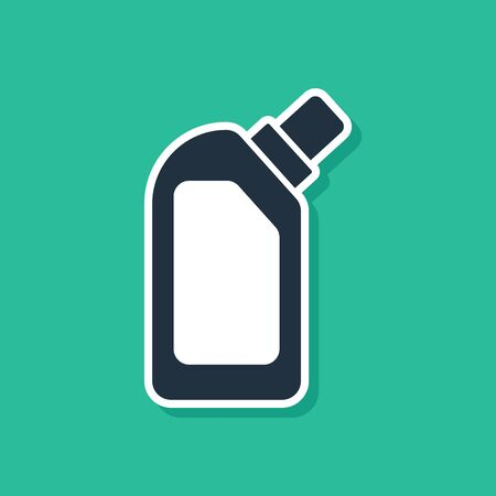 Blue Plastic bottle for liquid laundry detergent, bleach, dishwashing liquid or another cleaning agent icon isolated on green background. Vector Illustration