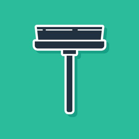 Blue Cleaning service with of rubber cleaner for windows icon isolated on green background. Squeegee, scraper, wiper. Vector Illustration