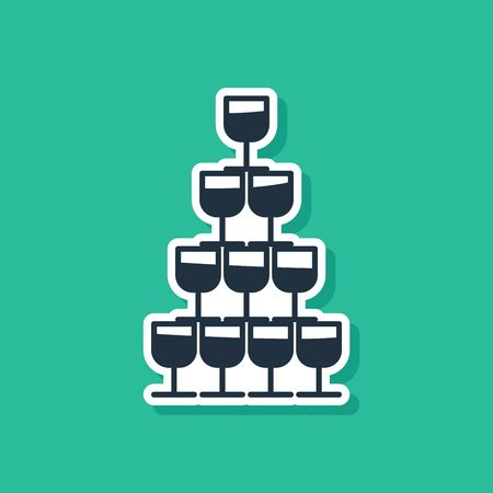 Blue Wine glasses stacked in a pyramid tower icon isolated on green background. Wineglass sign. Vector Illustration Ilustrace