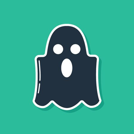 Blue Ghost icon isolated on green background. Happy Halloween party. Vector Illustration