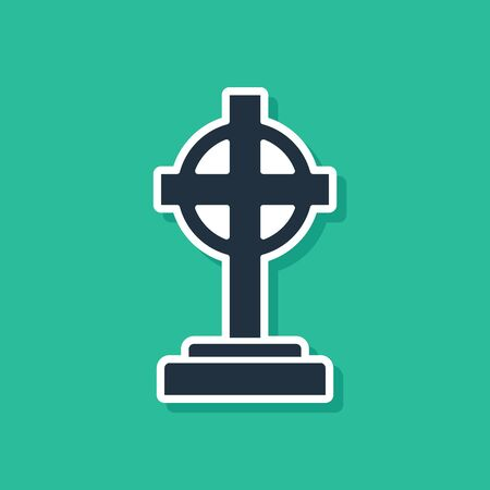 Blue Tombstone with cross icon isolated on green background. Grave icon. Vector Illustration