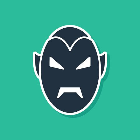 Blue Vampire icon isolated on green background. Happy Halloween party. Vector Illustration