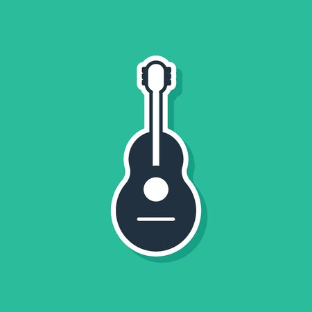 Blue Guitar icon isolated on green background. Acoustic guitar. String musical instrument. Vector Illustration