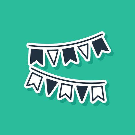 Blue Carnival garland with flags icon isolated on green background. Party pennants for birthday celebration, festival and fair decoration. Vector Illustration