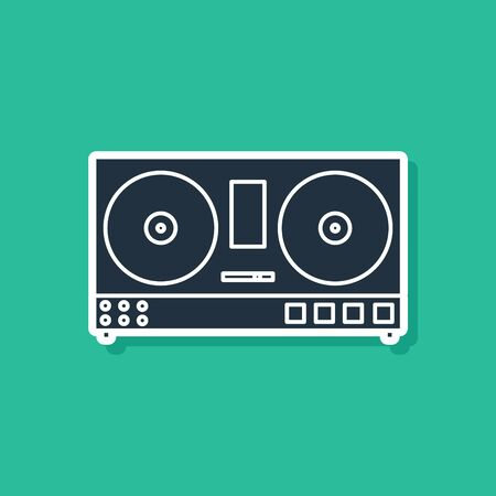 Blue DJ remote for playing and mixing music icon isolated on green background. DJ mixer complete with vinyl player and remote control. Vector Illustration