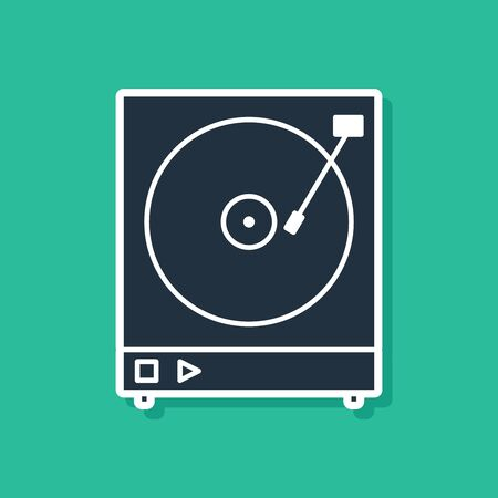 Blue Vinyl player with a vinyl disk icon isolated on green background. Vector Illustration