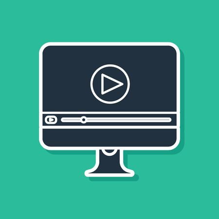 Blue Online play video icon isolated on green background. Computer monitor and film strip with play sign. Vector Illustration Archivio Fotografico - 131161346