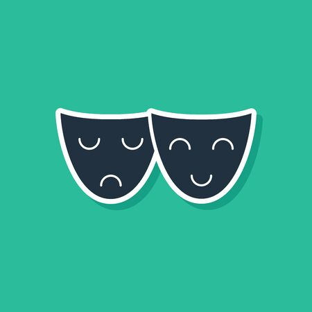 Blue Comedy and tragedy theatrical masks icon isolated on green background. Vector Illustration
