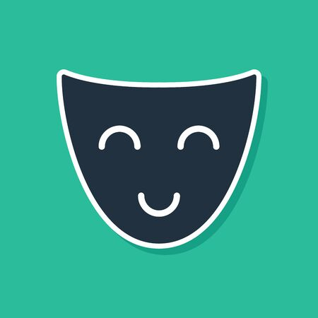Blue Comedy theatrical mask icon isolated on green background. Vector Illustration Иллюстрация