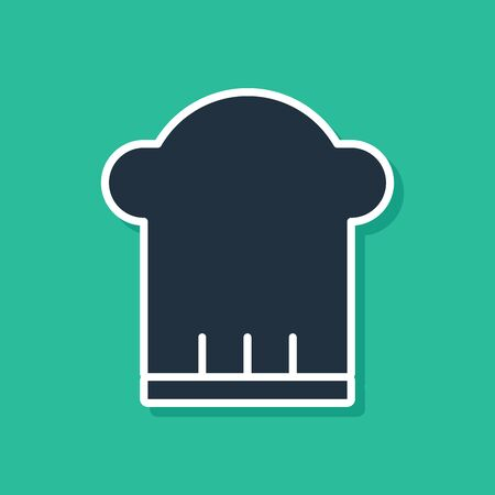 Blue Chef hat icon isolated on green background. Cooking symbol. Cooks hat. Vector Illustration