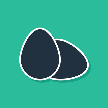 Blue Chicken egg icon isolated on green background. Vector Illustration