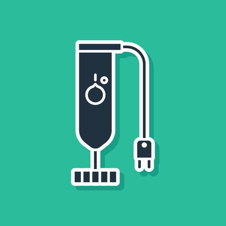 Blue Blender icon isolated on green background. Kitchen electric stationary blender. Cooking smoothies, cocktail or juice. Vector Illustration