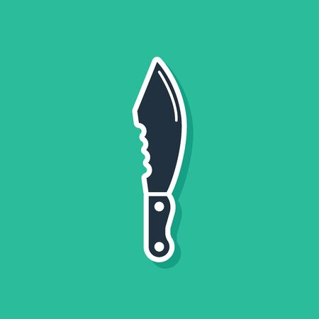 Blue Military knife icon isolated on green background. Vector Illustration