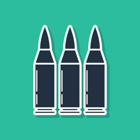 Blue Bullet icon isolated on green background. Vector Illustration