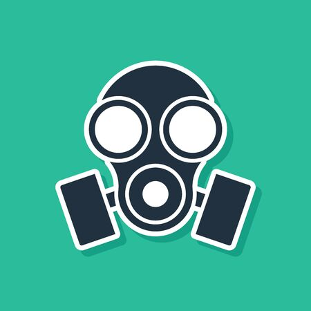 Blue Gas mask icon isolated on green background. Respirator sign. Vector Illustration