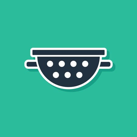 Blue Kitchen colander icon isolated on green background. Cooking utensil. Cutlery sign. Vector Illustration